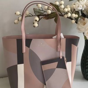 Kate spade mya arch place reversible pink tote nwt